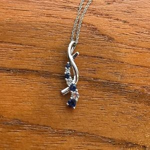 10k White Gold, Diamond, and Sapphire necklace